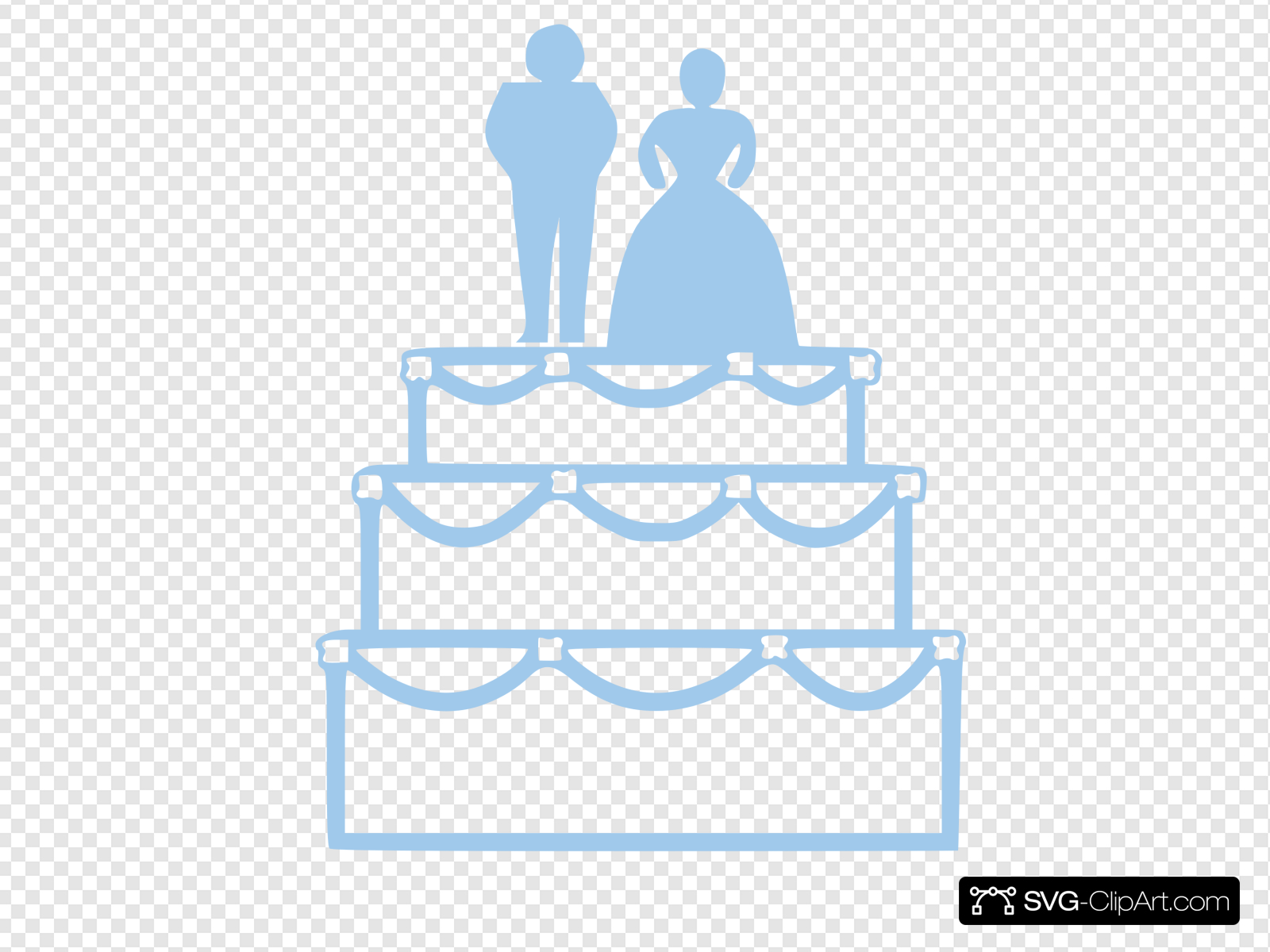 Simple Blue Wedding Cake Outline With Bride And Groom Clip.