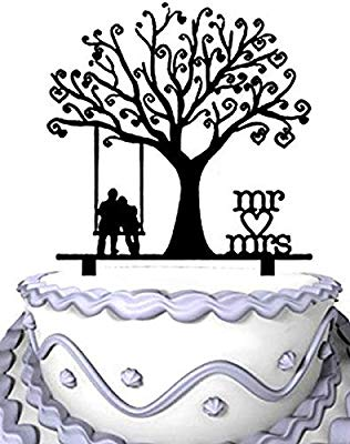 Wedding Cake Topper Groom and Bride Together Under the Tree.
