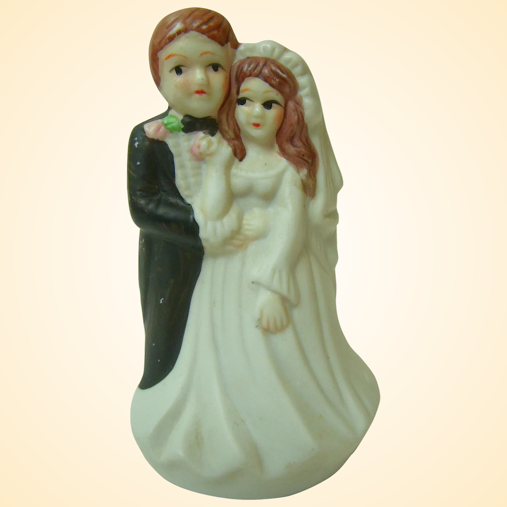 Vintage Bisque Wedding Cake Topper 1970s.