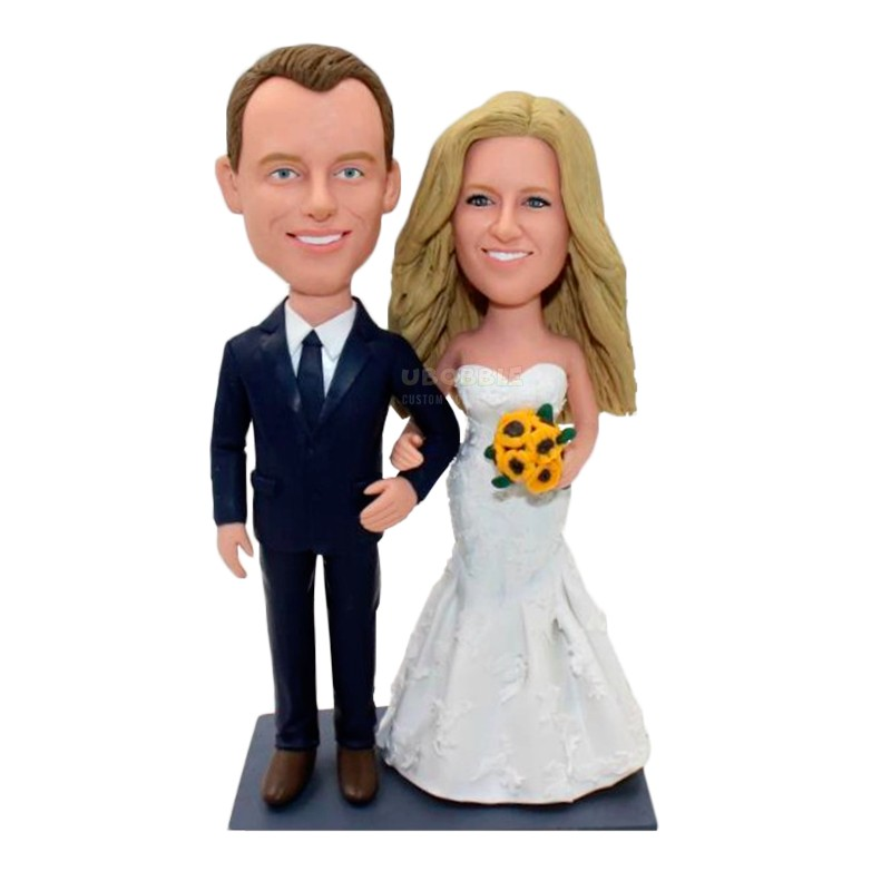 Custom beautiful wedding cake toppers bride and groom from photos.