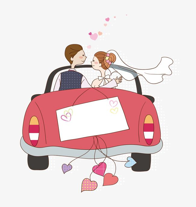 Cartoon Wedding Car, Wedding Clipart, Car Clipart, Wedding.