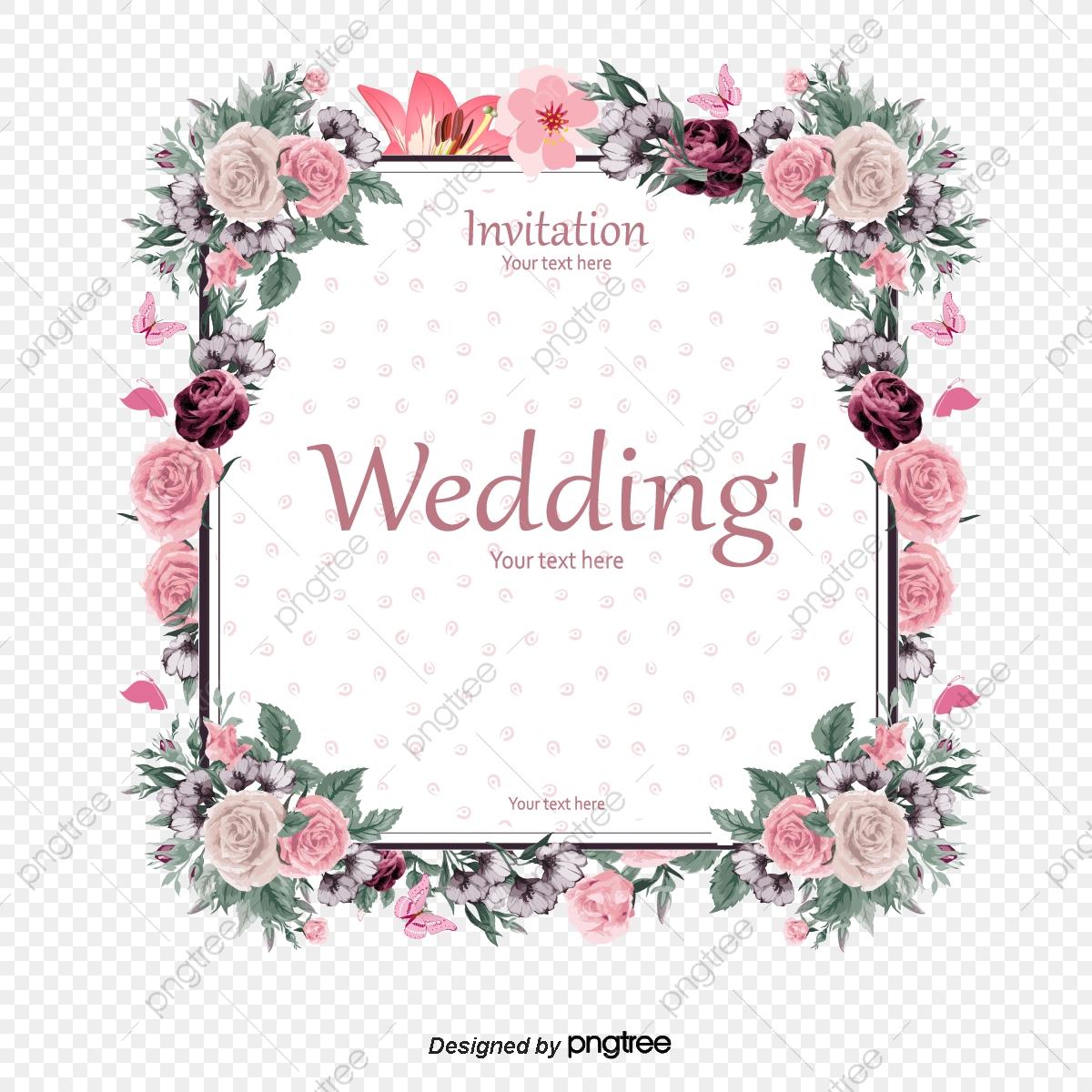 Elegant Floral Border Wedding Invitation Card Vector.