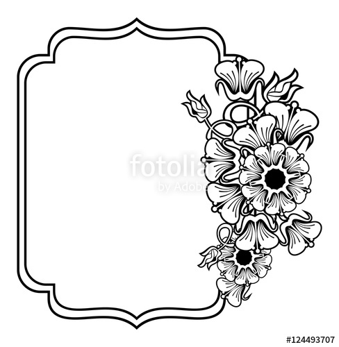 Vertical contour black and white frame with abstract flowers.