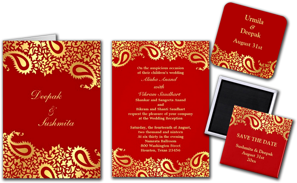 Wedding Cards and Gifts: Paisleys Elegant Indian Wedding.