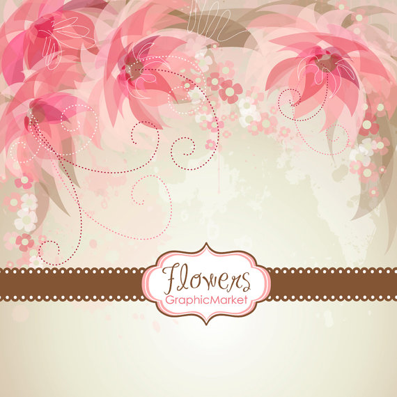 5 Flower Designs And 3 Floral Card Templates.