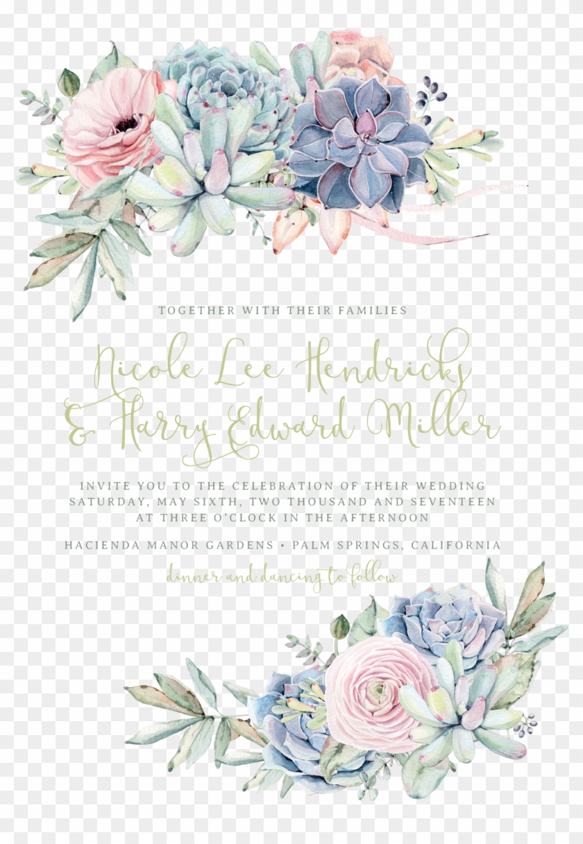 Sweet Succulents Wedding Invitation, Succulent Wedding.