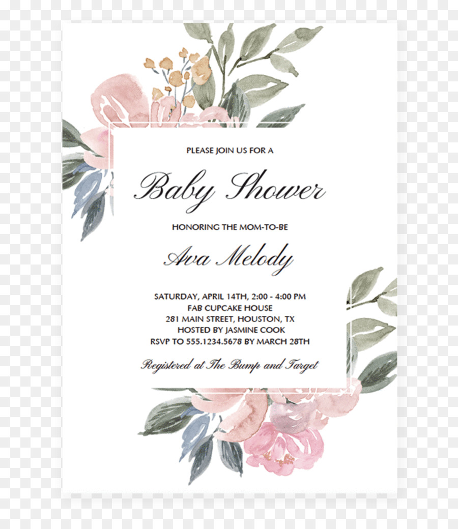 Floral Wedding Invitation Background png download.