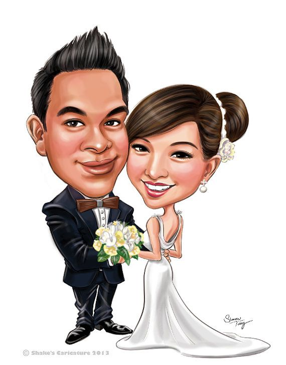 Custom Wedding Caricatures /for invitation/save the date.