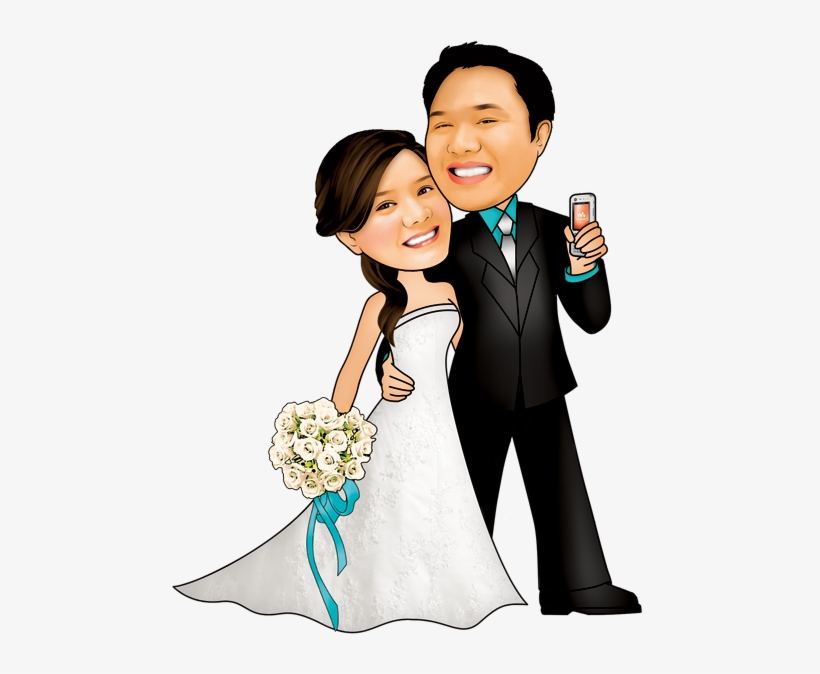 Wedding Couple Caricature Png.