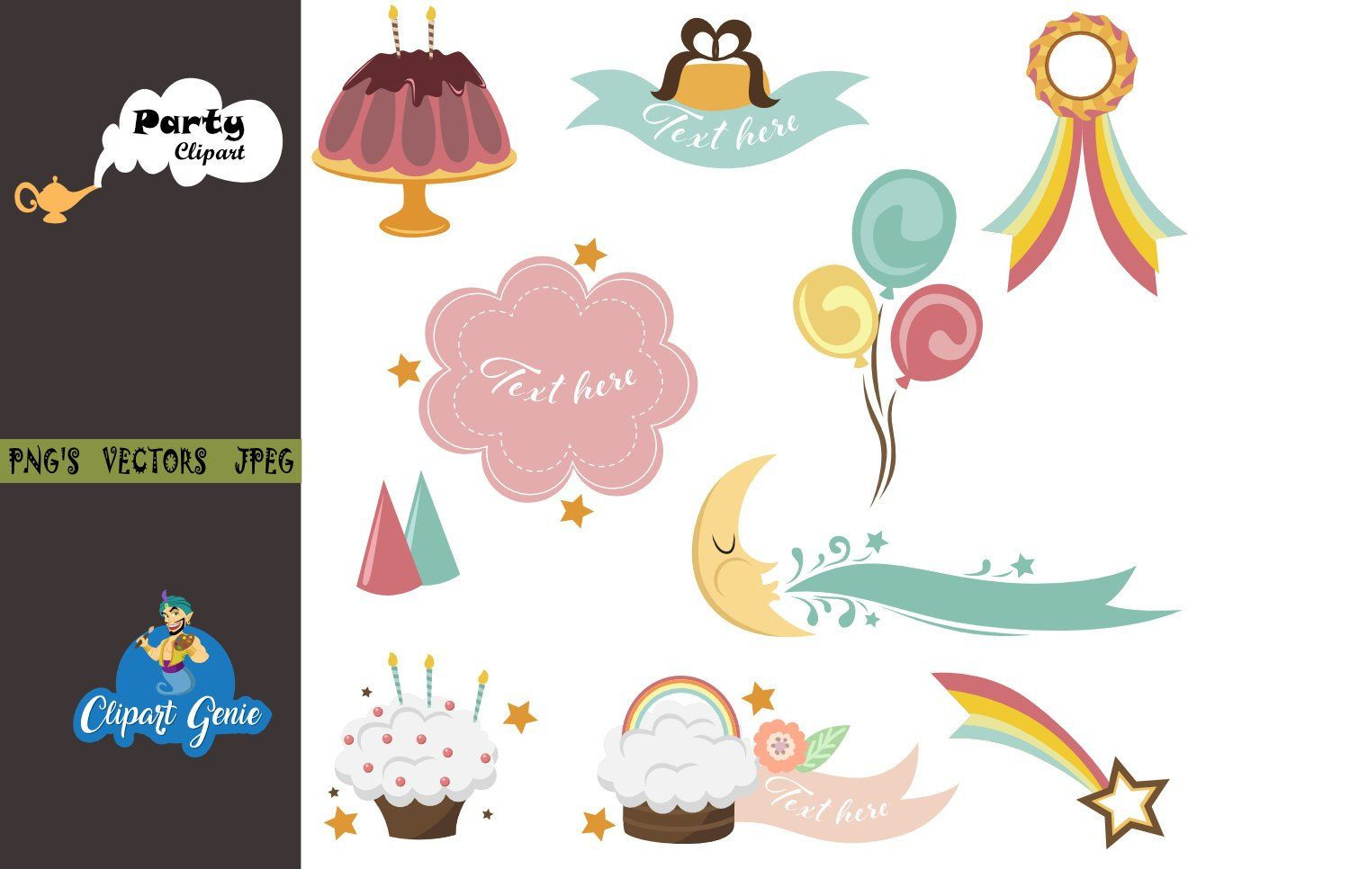 Birthday party clipart, party clipart, pool party clipart.