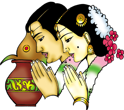 Hindu Wedding Couple Clipart.