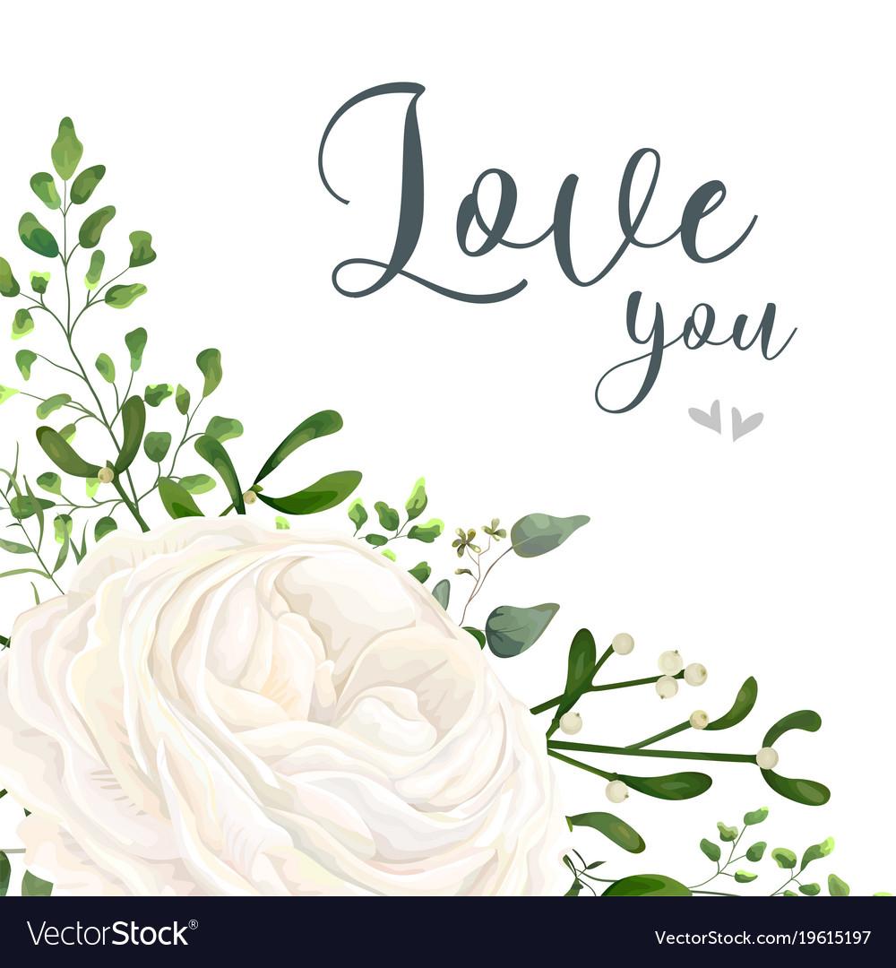 Floral card design with garden white ranunculus.