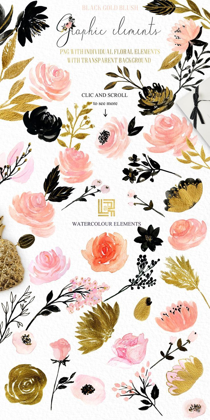 floral romantic graphics, elegant and wedding.