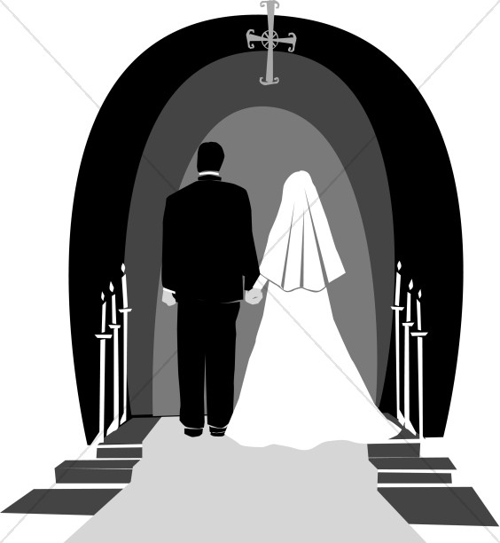 Wedding Couple in Grey, Black and White.