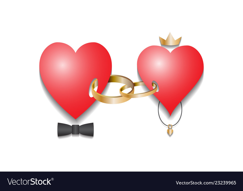 Two hearts connected by rings.