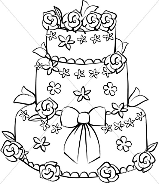 Rose Decorated Wedding Cake.