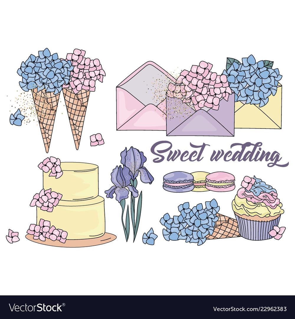 Sweet wedding cartoon wedding clipart color.