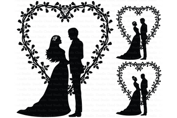 Wedding Heart, Bride and Groom SVG, Wedding Couple. Cake Topper, Wedding  Clipart.