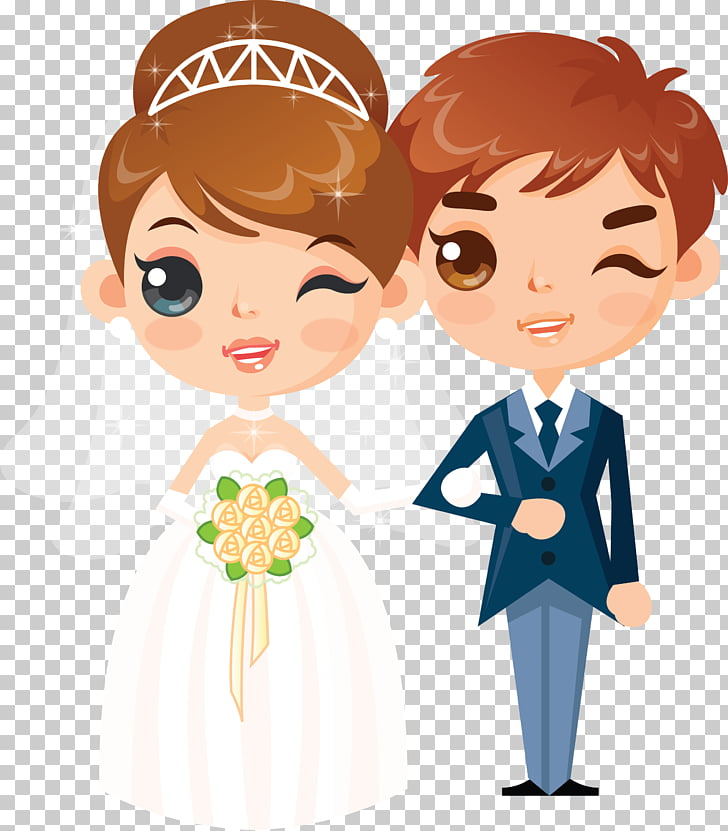 Wedding invitation couple , bride and groom PNG clipart.