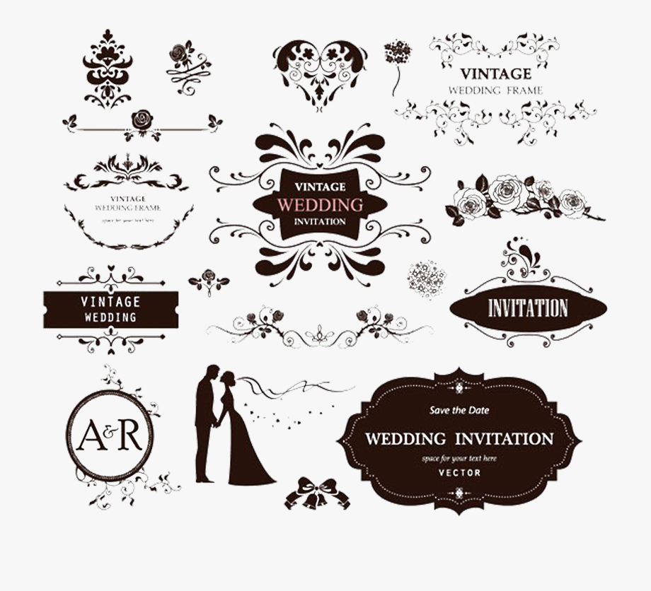 Label Clipart Wedding Invitation.