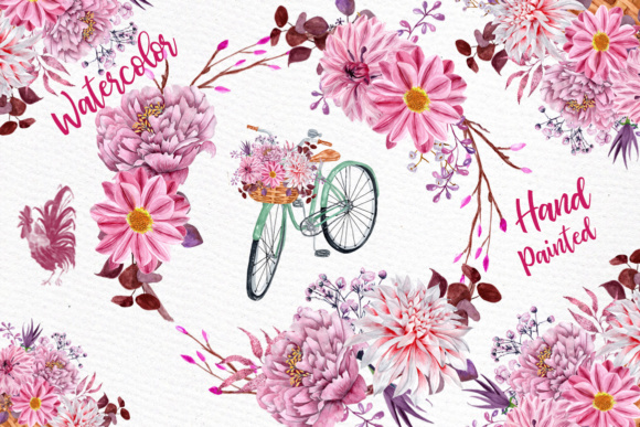 Watercolor flowers clipart FLORAL CLIPART Floral bicycle Wedding clipart  Floral Bouquets Pink Flowers.