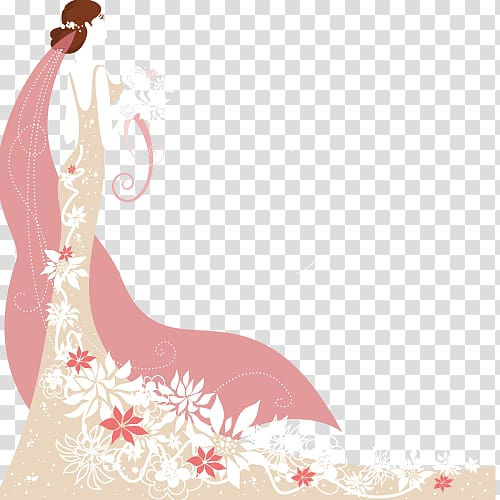 Woman in beige and white floral dress illustration, Wedding.