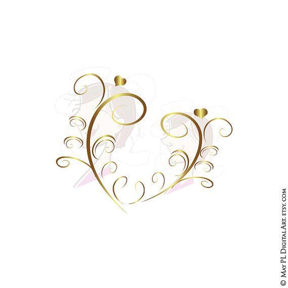 GOLD Retro Swirl Page Border Decoration Elegant Curly Flourishes.