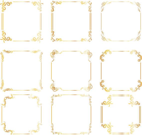 Gold square Frames Borders Gold wedding clipart Digital clip.