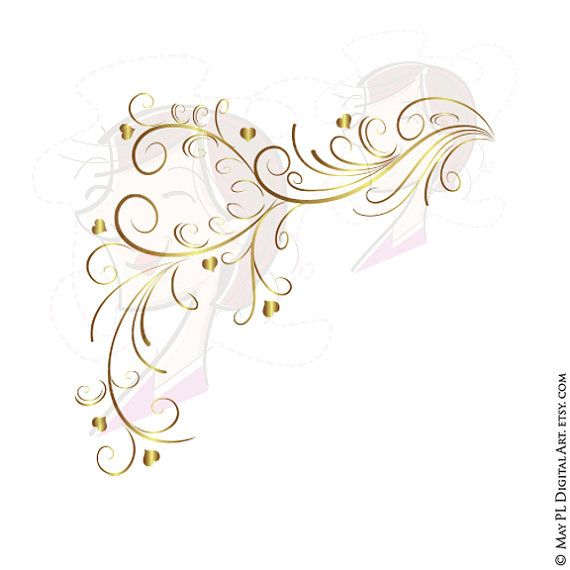 GOLD Retro Swirl Page Border Decoration Elegant Curly Flourishes.