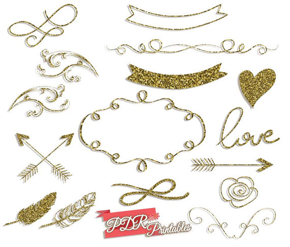 Gold Glitter Graphics Wedding Clipart Glitter Shapes and.