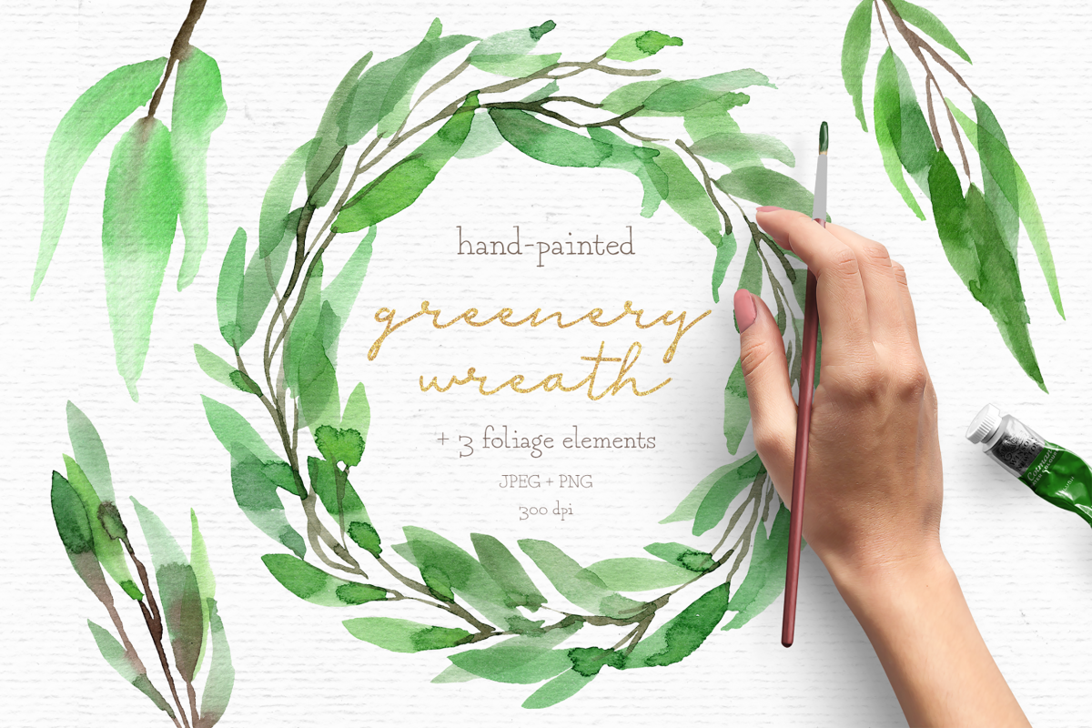 Watercolor wreath clipart, greenery clipart, wedding clipart.