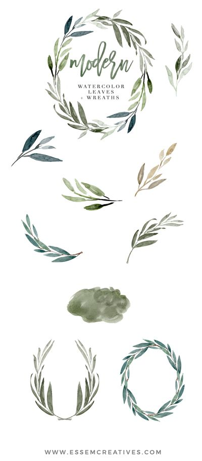 Modern Watercolor Leaves Clipart, Eucalyptus Wreath.
