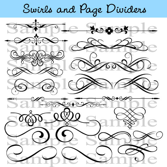 Swirls Wedding Clipart INSTANT DOWNLOAD Calligraphy Design.