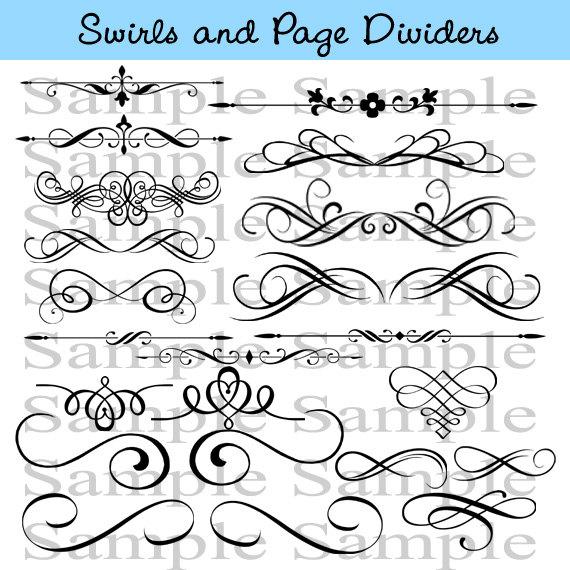 Swirls Wedding Clipart INSTANT DOWNLOAD Calligraphy Design.