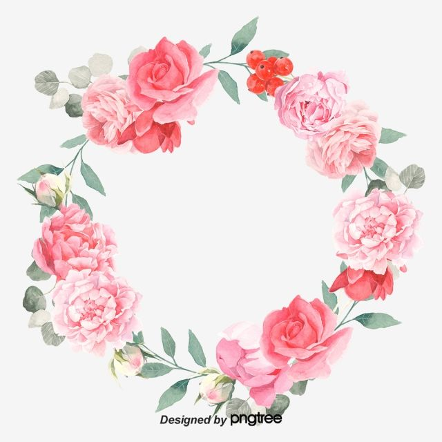 Soft Pale And Romantic Red Elements, Wreath, Painted, Spring.