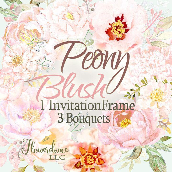 Watercolor Peony Bouquet Arrangement Clipart.