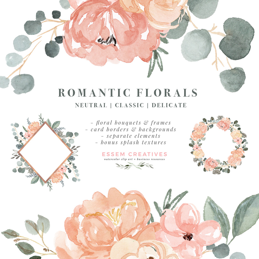 Watercolor Floral Clip Art, Peach Blush Pink Sage Dusty Green Romantic  Flower Background PNG, Wedding Birthday Invitations.