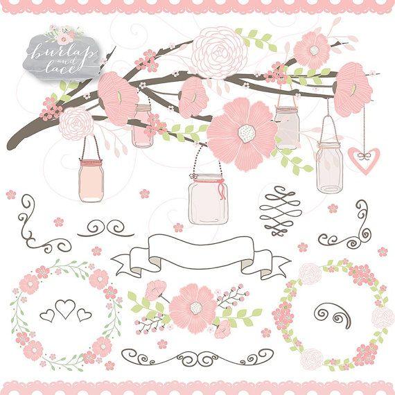 Wedding flower cliparts, flower clipart, bridal clipart.
