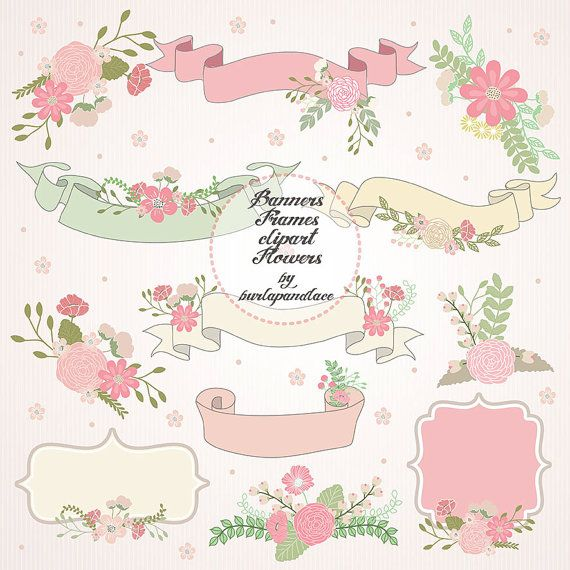 Wedding banner frame clipart flower pink pale by.