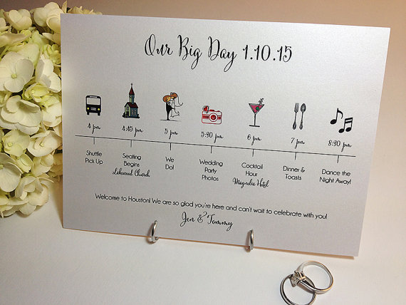 Timeline Card, The Big Day, Wedding Celebration, Guest Itinerary.