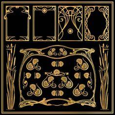 Art Nouveau Borders, Wedding, Banner, Ornament, Frame. Vector.
