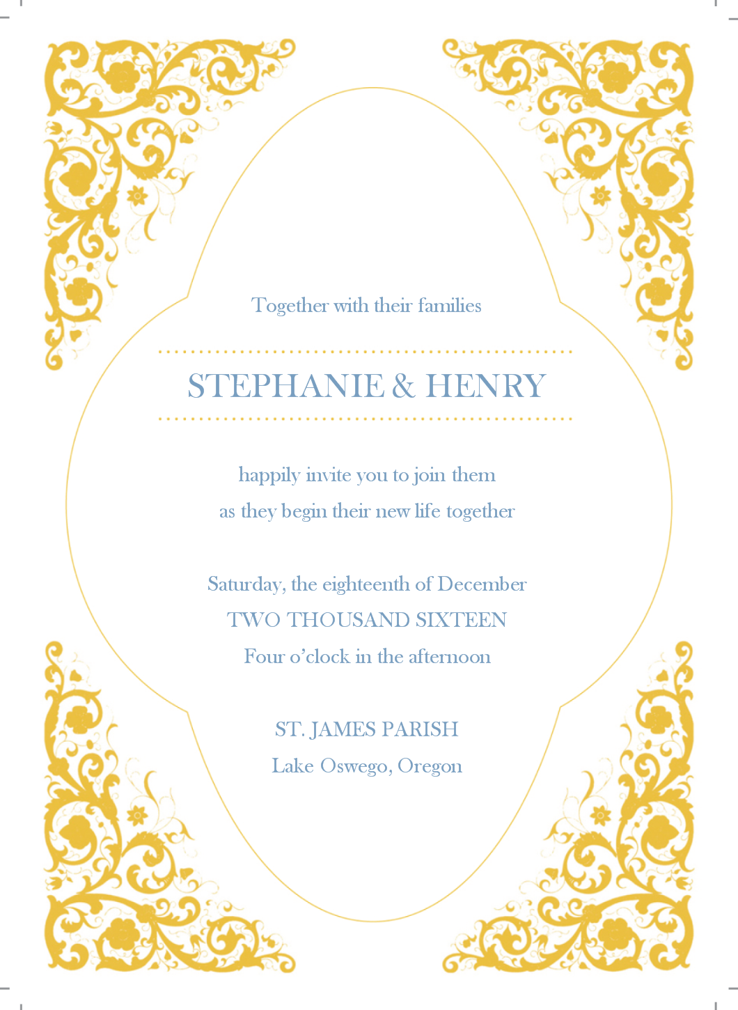 Gold Wedding Invitation.