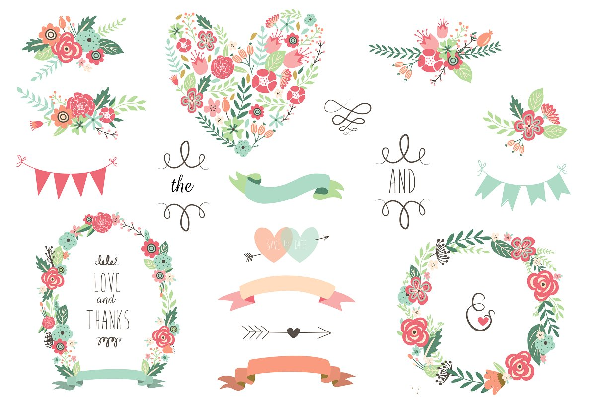 Save The Date Floral Wedding Clipart.