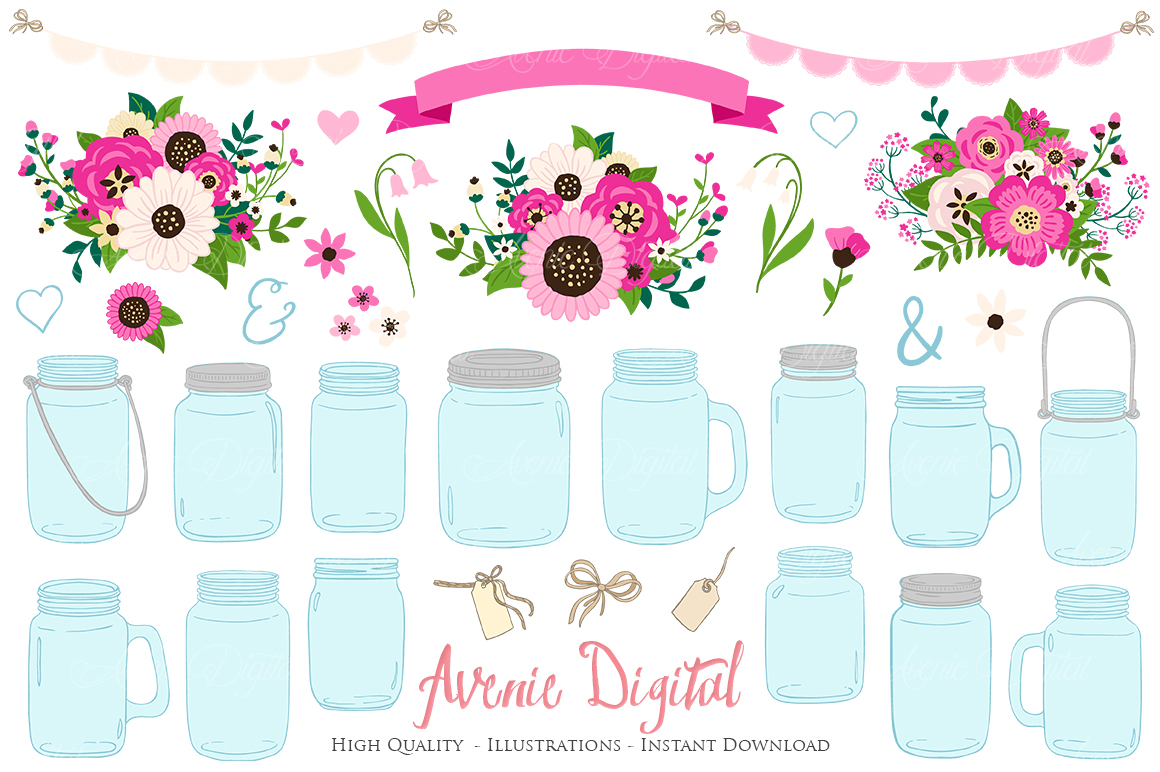 Hot Pink Mason Jar Floral Wedding Clipart.