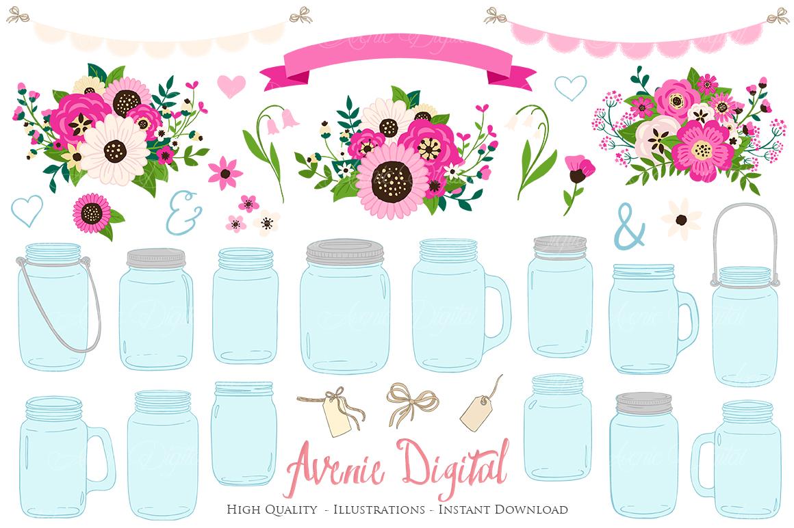 Hot Pink Mason Jar Floral Wedding Clipart.