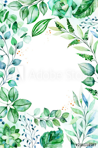 Watercolor Green illustration.Pre.