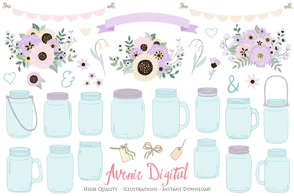 Lilac Mason Jar Floral Light Purple Wedding Clipart.
