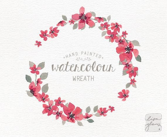 This simple delicate pink floral watercolor wreath is hand.