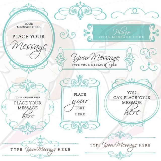 Flourish Swirls Digital Frames Calligraphy Clip Art Teal.