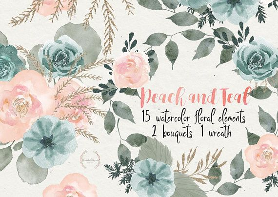 Peach and Teal clipart, watercolor clipart, boho clipart.